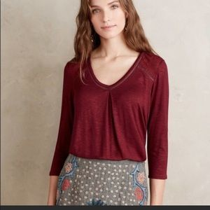 NWT Anthro Dolan Wine Maisy Tee Size Medium
